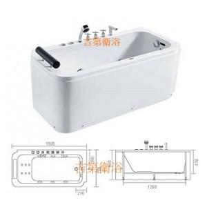 BHLB0623 雙系統壓克力獨立式按摩浴缸150*75cm