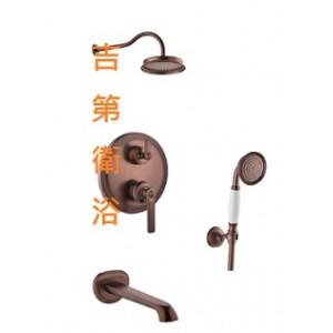 FH9903 新古典古銅埋壁式開關+上花灑+浴缸出水+掛勾蓮蓬頭