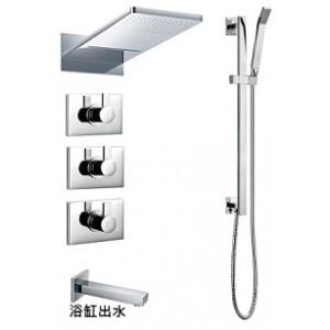 FH8379埋壁式溫控開關+上花灑+浴缸出水+滑桿組