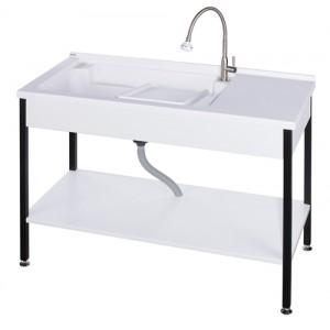 ST51200實心人造石活動洗衣槽+不鏽鋼烤漆腳架w120
