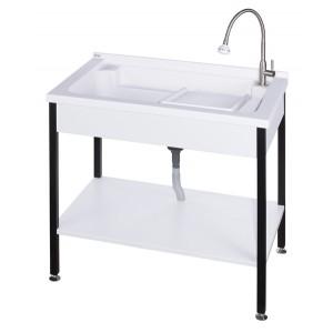 ST590 實心人造石活動洗衣槽+不鏽鋼烤漆腳架W90cm
