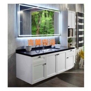 160cm定製防水型浴櫃&不鏽鋼框LED燈鏡