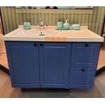 100進口石英石檯面+Roca方形下崁盆+防水浴櫃+緩衝木抽寶藍色