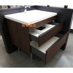 6050一體中厚瓷盆+防水木紋雙抽屜浴櫃