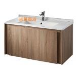 100cm 一體瓷盆+造型凡爾賽橡木防水浴櫃