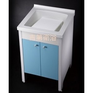 人造石輕巧型立柱式洗衣槽+防水下櫃w54cm