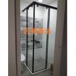 GEDY 黑色五金L型無框淋浴門強化玻璃8mm